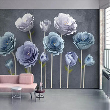New 3d stereo flowers modern minimalist TV background wall manufacturers wholesale wallpaper murals custom photo