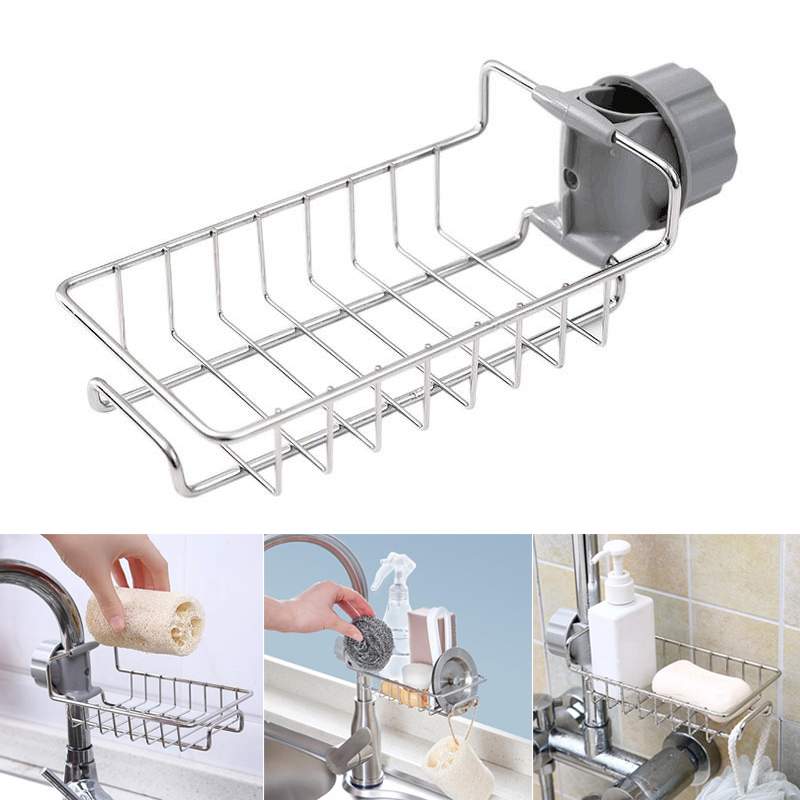 New Stainless Steel Faucet Storage Racks Adjustable Sink Rag Sponge Draining Rack Kitchen Bathroom Soap Storage Holders Shelves