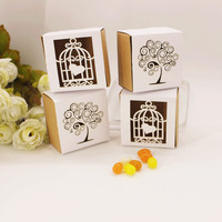 Rustic Wedding Candy Box Laser Engraving Christmas Gift Box Laser Cut Bird Cage Love Tree Kraft