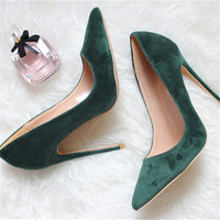Free shipping fashion women Pumps Green burgundy velvet Pointy toe high heels shoes size33 43 12cm 10cm 8cm party shoes