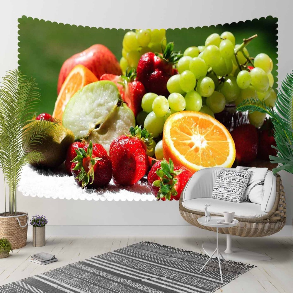 Else Green Grapes Red Strawberry Orange Fruits 3D Print Decorative Hippi Bohemian Wall Hanging Landscape Tapestry Wall Art