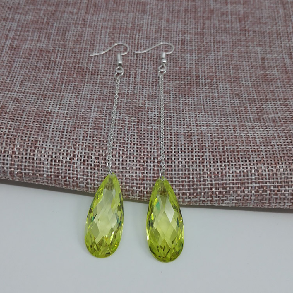 Fashion Jewelry Waterdrop Rhinestone Long Chain Dangle Hook Linear Earrings