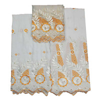 New Arrival Beaded Nigeria Wedding Cotton Lace High Quality 7 Yards White/Golden African Bazin Riche Fabric L52 5