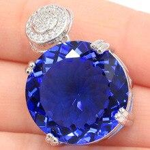 SheCrown Big Round Gemstone 20x20mm Rich Blue Violet Tanzanite CZ Silver Pendant 30x20mm