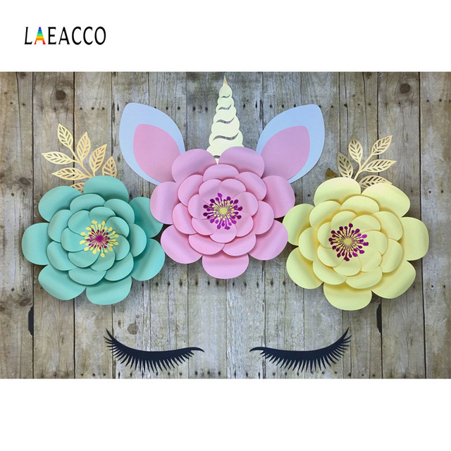 Laeacco Flowers Planks Unicorn CommunionParty Decor Photography Backgrounds Custom Photographic Backdrops Prop For Photo Studio