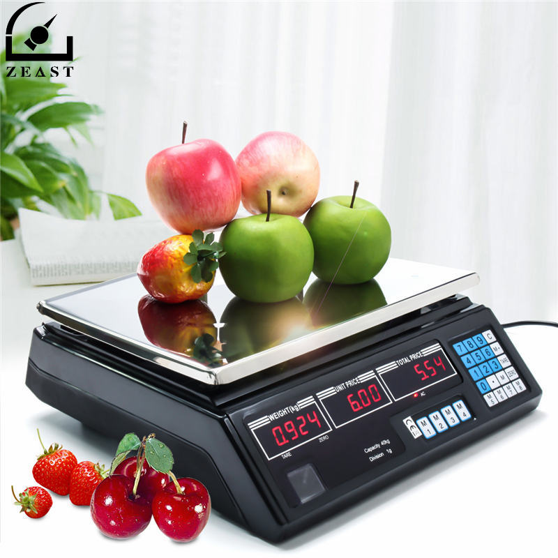 Zeast 220V AU Plug 40kg Max Weight Portable Kitchen Digital Scale Electronic Weight Food Scales For Commercial Shop useful portable 50kg lcd display digital hanging scales electronic weight fishing hook scale black kitchen scales