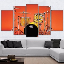 Modular Picture 5 Panel Music Poster Cool Rock Instrument Drum Kit Painting Decor Canvas Fashion For Living Room
