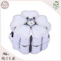 Hot Sale European Fashion Famous Beautiful White Enamel 925 Sterling Silver Cherry Flower Charm Clip