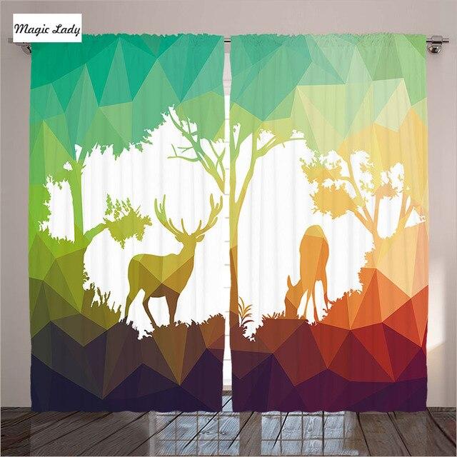Vorhänge Farbe Wald Wildlife Hirsche Bäume Geometrische Dreiecke Park  Dschungel Wohnzimmer Schlafzimmer Grün Braun Weiß 290x265