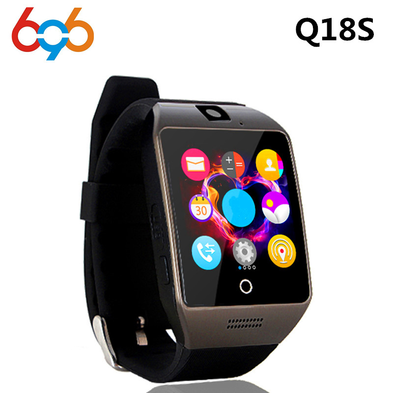 696 Bluetooth NFC Smart Watch Q18S Arc Smartwatch With Camera Sim TF Card For IOS& Android HuaWei XiaoMi Phone PK APRO Q18 GV18