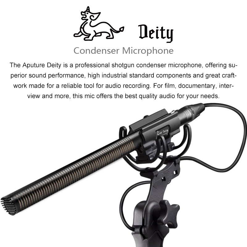 Aputure Deity Professional Shotgun Condenser Microphone for Nikon Canon Sony DSLR Panasonic Camera Camcorder Interview Video Mic videomic go condenser shotgun microphone video interview reporting conference cardioid mic for digital dslr camera