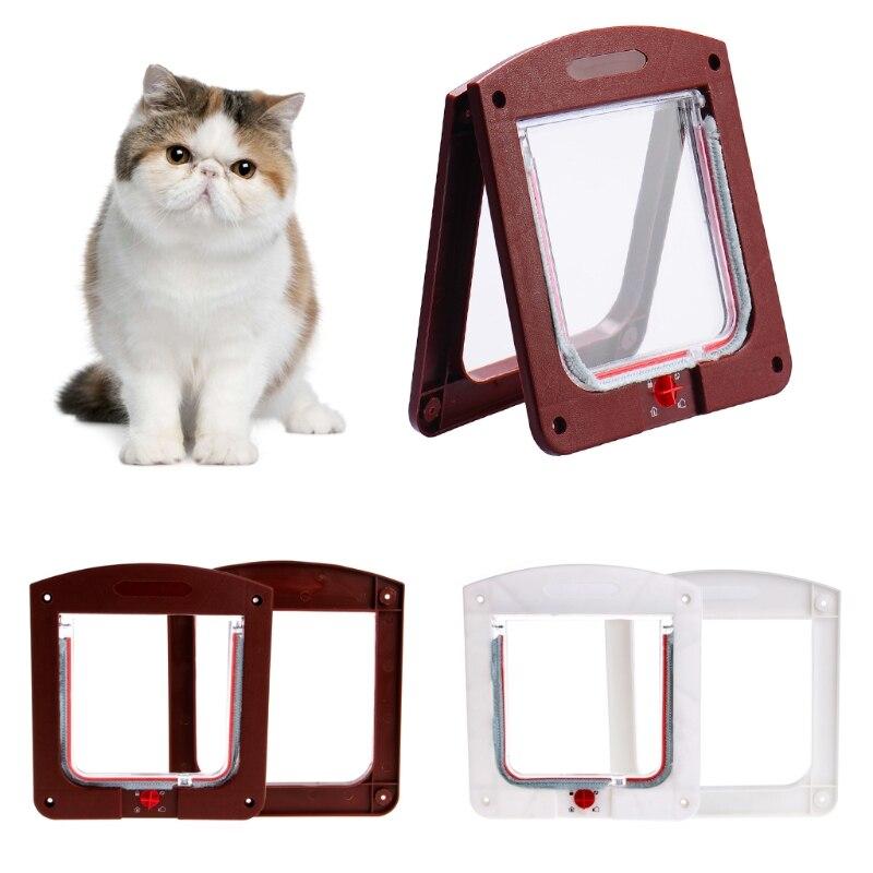 4 Ways Pet Cats Puppy Dogs Gates Door Lockable Safe Flap Door Pet Products