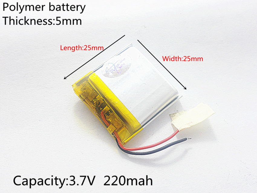 3.7V 220mAh <font><b>502525</b></font> Lithium Polymer Li-Po li ion Rechargeable Battery cells For Mp3 MP4 MP5 GPS image