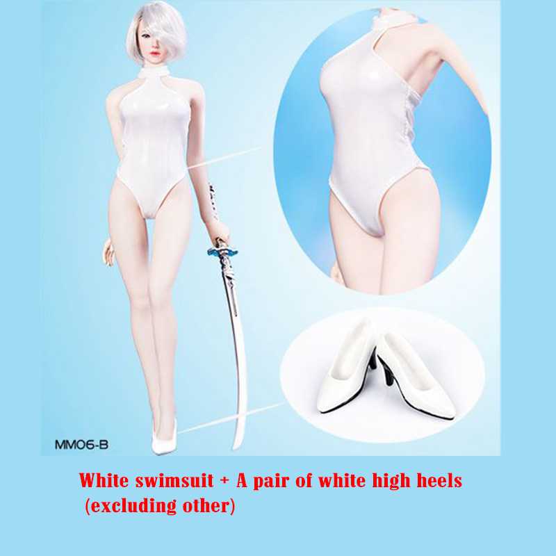 1/6 Scale Mm06 Yorha 2b Wt Halter Bikini Swimsuit Costume Leather Clothing W/high Heels Shoes F 12big Bust Body Action Figure Be Novel In Design Action & Toy Figures