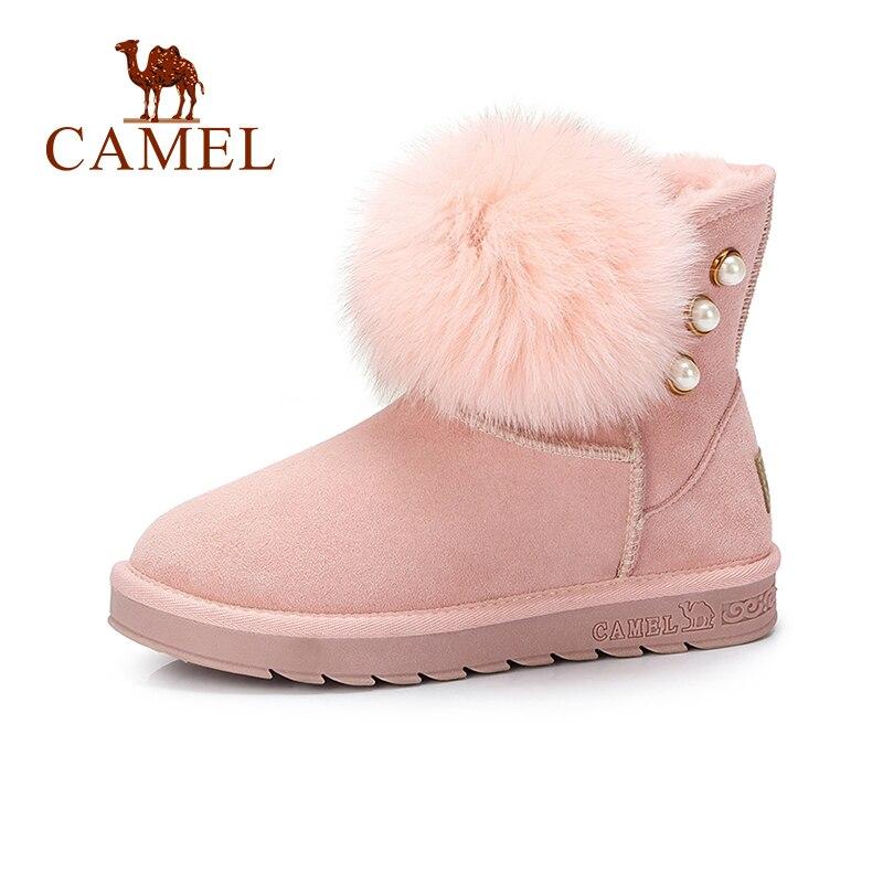 CAMEL Women Snow Boots Winter Furry Boots Shoes Women Ankle Flat Heel Plus Velvet Keep Warm Non-slip Shoes For Girls цена