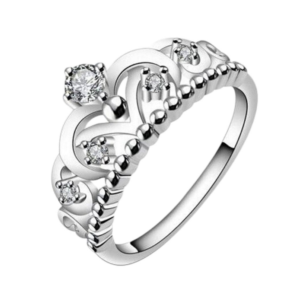 2016 Elegant Wedding Jewelry Silver Plated Crown Shape Crystal Luxury Finger Ring
