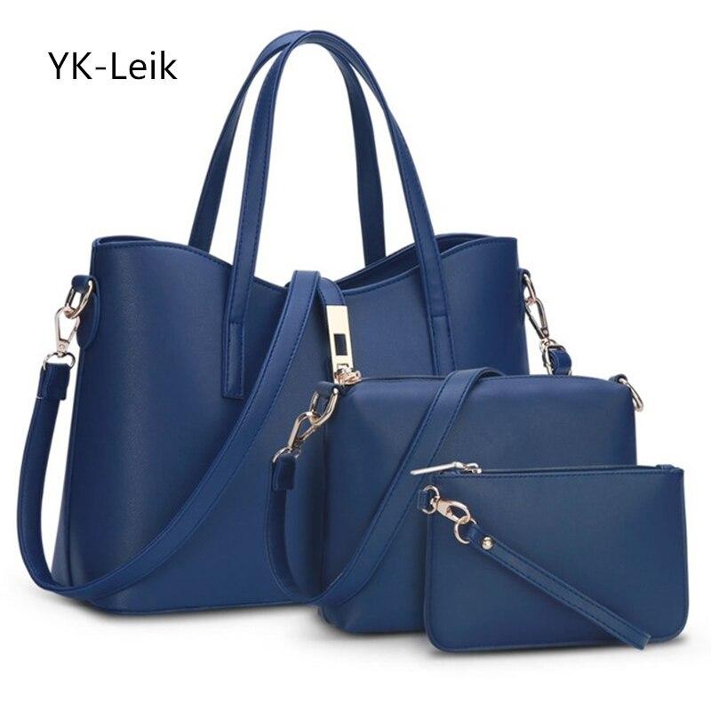 YK-Leik Hot Sale Polyester New European And American Designer Brand Women Shoulder Bag Handbag Large + Crossbody Clutch 3 Sets
