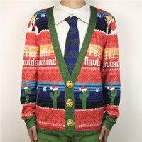 Funny Felie Navidad Cactus Printed Ugly Christmas T Shirts For Men And Women Spanish Xmas Vacation