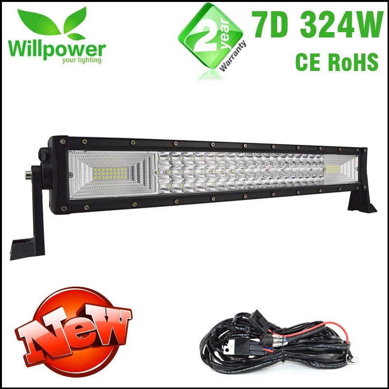 new 7D light bar aluminum housing 21'' inch 324W led light bar for offroad jeep car truck light bar 4x4 driving light bar bar