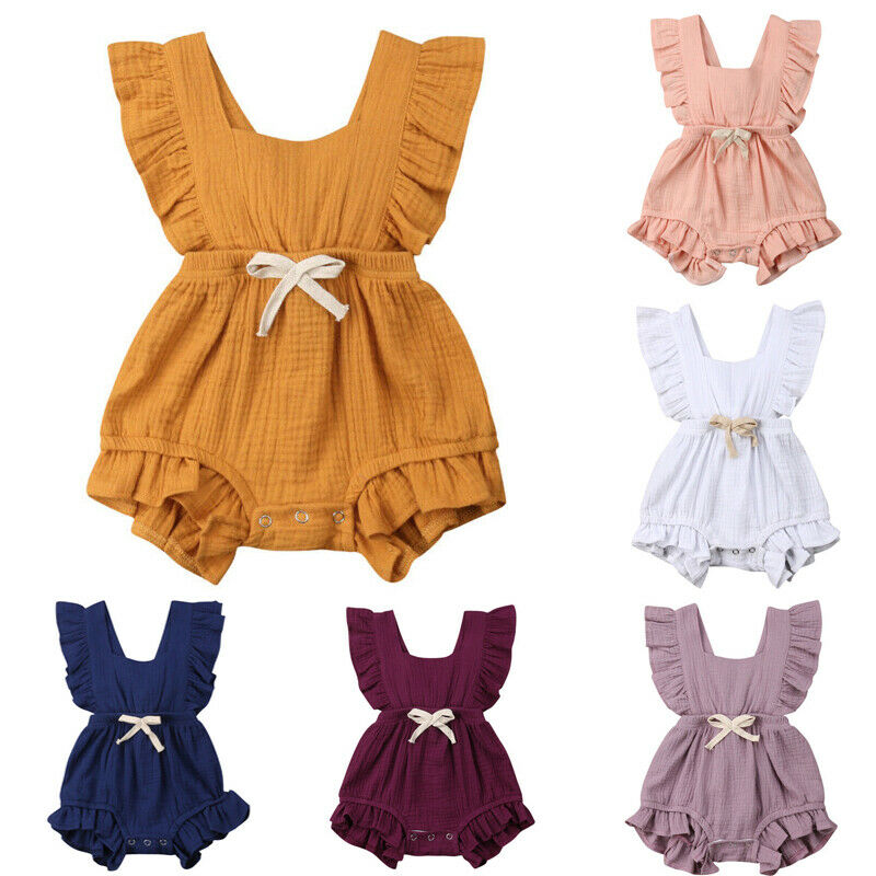 Newborn Baby Girls Clothes Ruffle Solid Color   Romper   Backcross Jumpsuit Outfits Bowknot Sunsuit Infant Baby Clothing