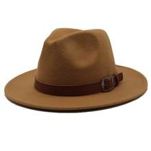Seioum Special Felt Hat Men Fedora Hats with Belt Women Vint
