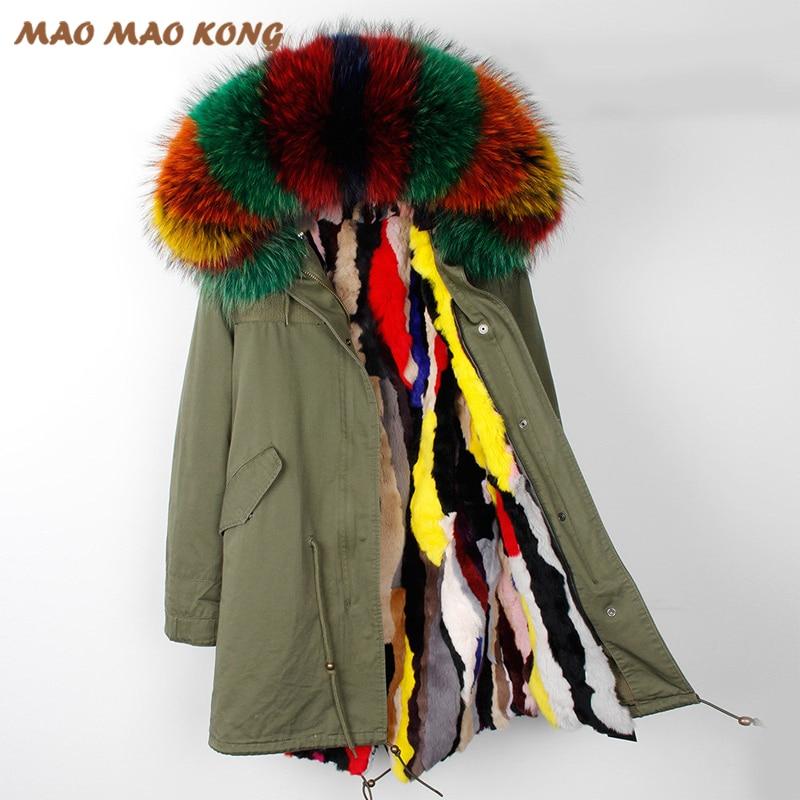 2018 Nouvelle longue slim hiver manteau vestes femme réel fourrure de raton laveur à capuchon de fourrure de lapin doublure outwear marque style noir armée vert couleur