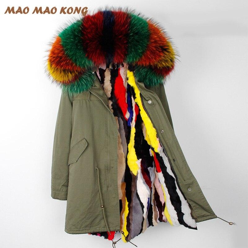 2018 Nuovo lungo sottile del cappotto di inverno giacche donna reale pelliccia di procione con cappuccio di pelliccia di coniglio fodera di marca outwear stile esercito nero di colore verde