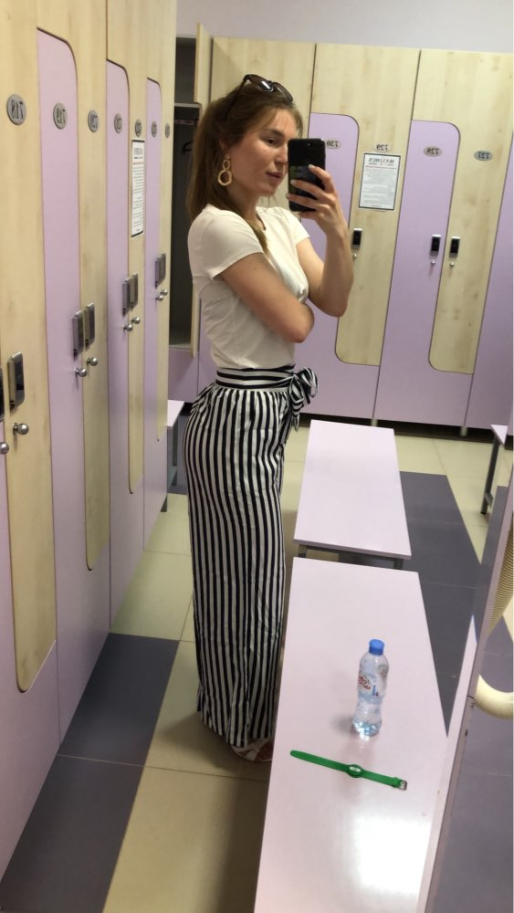 Women Wide Leg Pants Contrast Stripes Print High Waist Straight Pantalon Femme Bow Tie Casual Spring Autumn Trousers Party Wear photo review