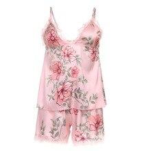 Ekouaer Pajama Set Sexy Satin Sleepwear Women Summer Pyjama Flower Printed Sleep