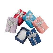 Коробки для ювелирных изделий 4 Х6 см, бумажные подарочные коробки для ювелирных изделий, упаковка для сережек, ожерелий, подвесок, колец, коробка с белой губкой