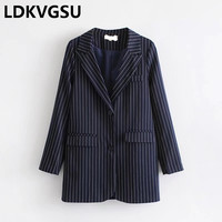Women Striped Print Suit Blazer Jacket 2018 Spring Autumn Formal Blazer And Jackets Work Office Business Suit Female Is261