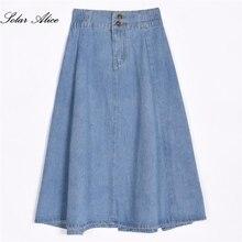 משלוח חינם 2018 אופנה חדשה אביב קיץ בנות בגדי נשים דנים ג ינס אמצע עגל כדור שמלת מתוקה Causul בתוספת חצאית גודל