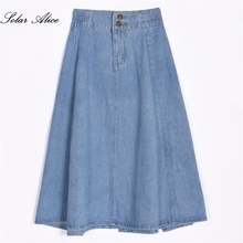 Free Shipping 2018 New Fashion Summer Spring Women Clothing Girls Denim Jeans Mid Calf Ball Gown Sweet Causul Plus Size Skirt