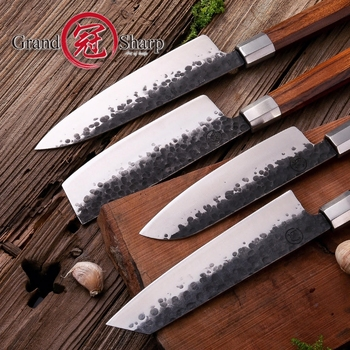 NEW 4 Pcs Handmade Kitchen Knife Set High carbon Steel Chef Santoku Nakiri Kiritsuke Knives ECO Friendly Pro Cooking Tools