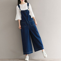 New Women Strappy Dungaree Bib Cargo Pants 2017 Retro Denim Blue Wide Leg Long Overalls Trousers