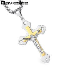 1f78fbe68878 Davieslee Necklace for Men 2-Layer Jesus Cross Pendant Stainless Steel Box  Link Chain Black Gold Silver LKPM140