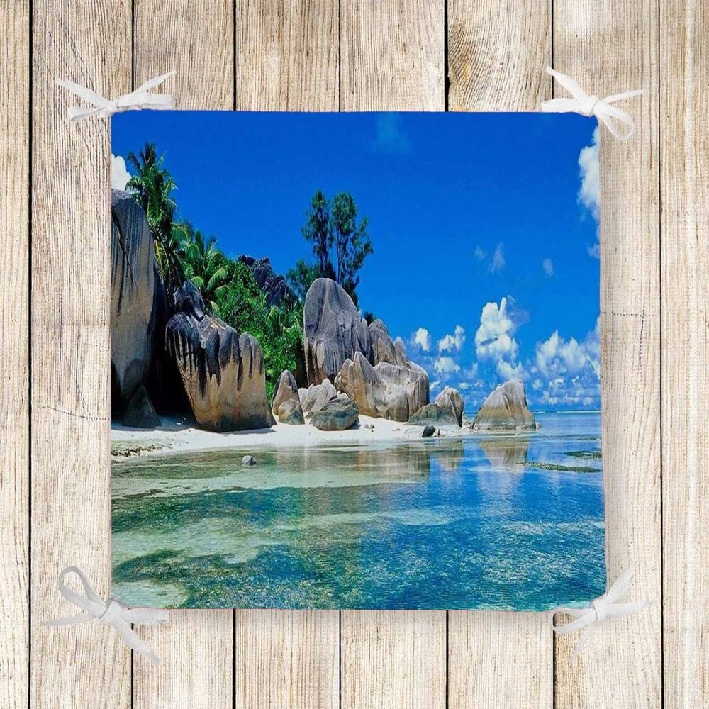 Else Tropical Sea Side Mountain Trees 3d Print Chair Pad Seat Cushion Soft Memory Foam Full Lenght Ties Non Slip Washable Zipper