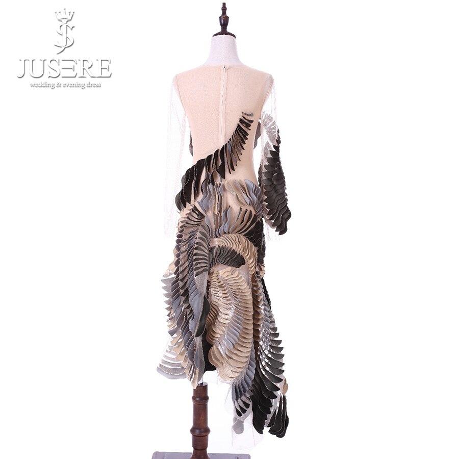 Robe De soirée Robe de soirée 2018 droite col rond manches longues voir à travers courtes robes formelles Jusere abendkleider vestido De festa - 3