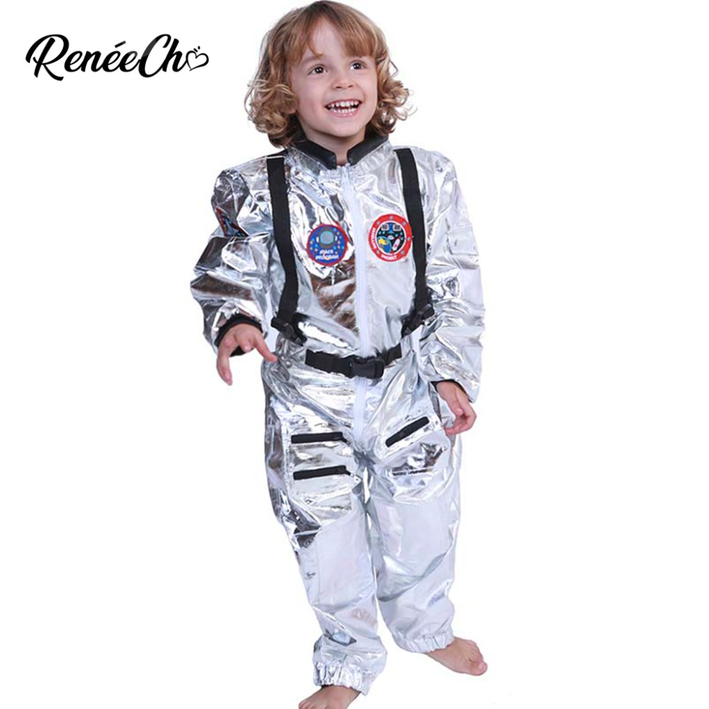 Halloween Costumes For Kids Child Astronaut Costume Boys Costume Spaceman Cosplay Silver Cosmonaut Jumpsuit Party Custom Cosplay