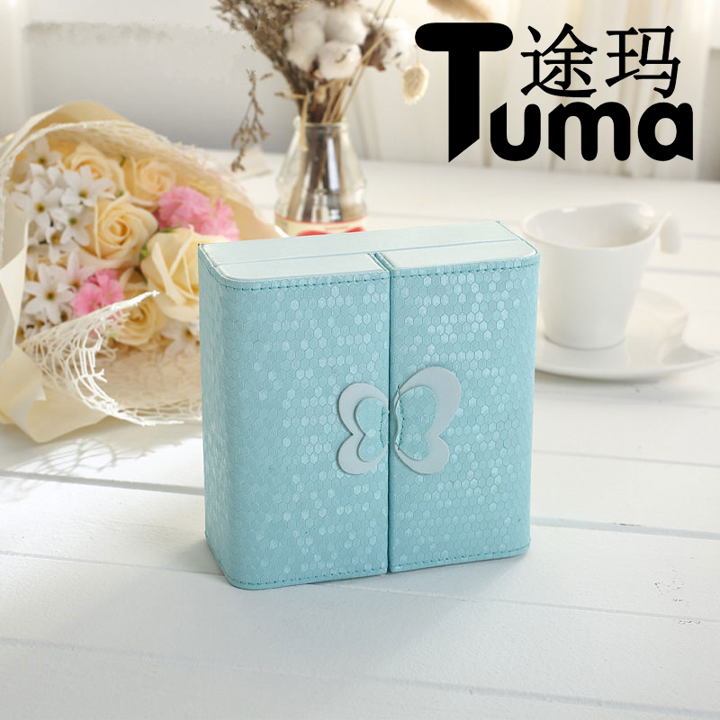 Creativity Folded Jewelry organize for woman High Grade PU leather Jewelry Casket Solid color butterfly earring storage box