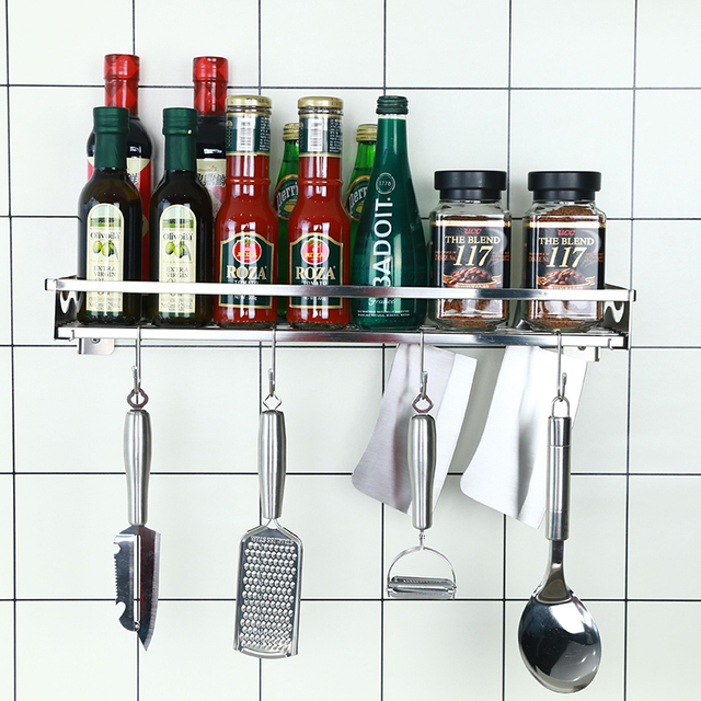 304 Stainless Steel Wall Mount Single Tier Spice Rack No Drilling