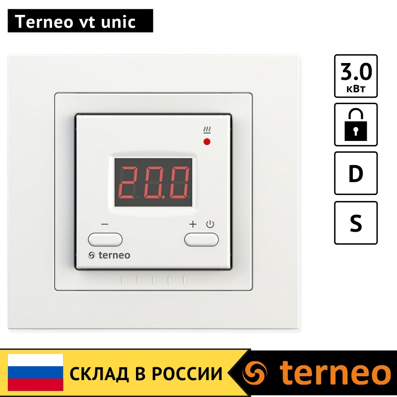 Terneo Vt Unic - Electronic Room Thermostat With Digital Control For Electric Infrared Heaters And Convectors Temperature Sensor