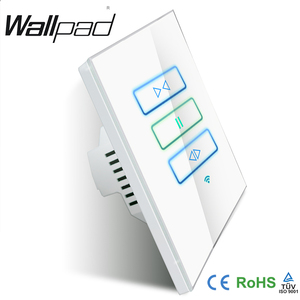 Image 2 - Hot Wallpad White Glass 120 AU US 110~250V Wireless Wifi Electrical Remote Control Window Curtain Switch,Free Shipping