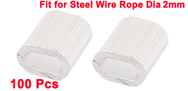 "Купить с кэшбэком UXCELL 100 Pcs 2mm 5/64"" Steel Wire Rope Aluminum Ferrules Sleeves Silver Tone"