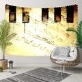 Sonst Gelb Boden Schwarz Piano Vintage Musik Notizen 3D Druck Dekorative Hippi Böhmischen Wand Hängen Landschaft Wandteppich Kunst-in Dekorative Wandteppiche aus Heim und Garten bei