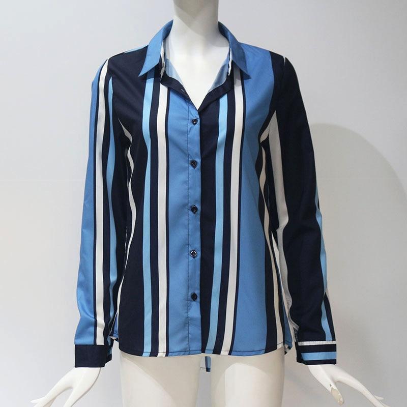 Women Blouses Fashion Long Sleeve Turn Down Collar Office Shirt Leisure Blouse Shirt Casual Tops 99