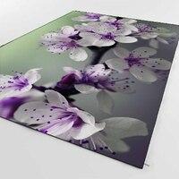 Mais verde chão branco roxo orquídea flores 3d impressão não deslizamento microfibra sala de estar decorativa moderna lavável tapete