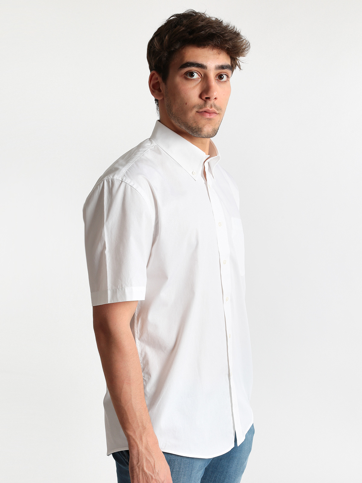 White Short-sleeved Shirt Cotton