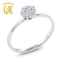 Diamond Ring 18K Solid White Gold 0 156 Cttw White Diamond Flower Blossom Engagement Ring For