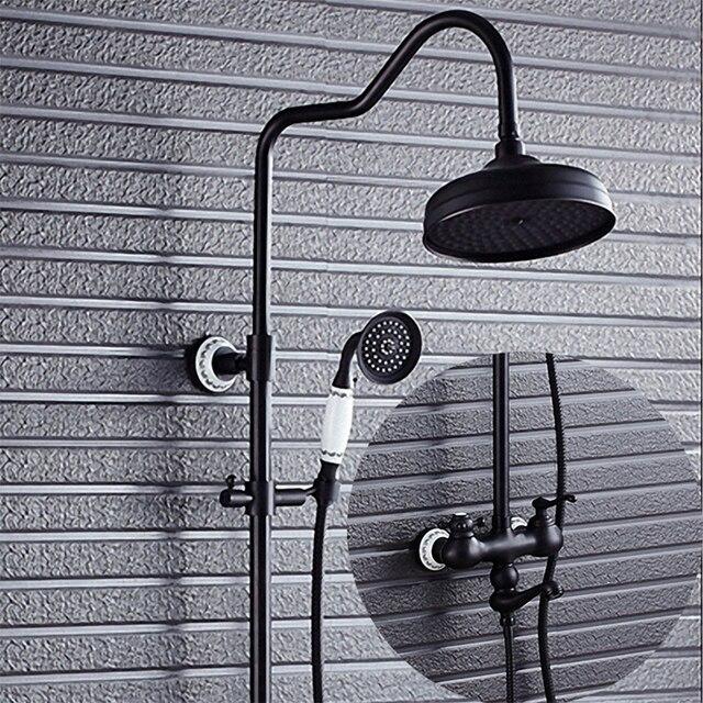 Bathroom Shower System, Oil Rubbed Bronze / Black, K99-B4, soild brass